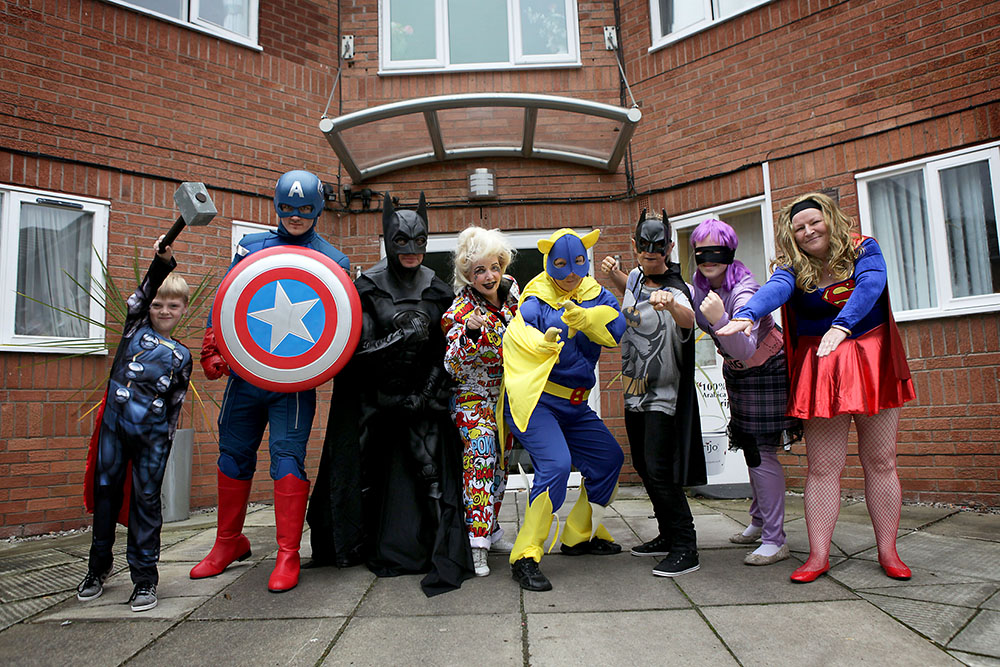 Superheroes including Captain America, Batman and Bananaman all stopped by Birch Green recently for a well-earned cuppa.